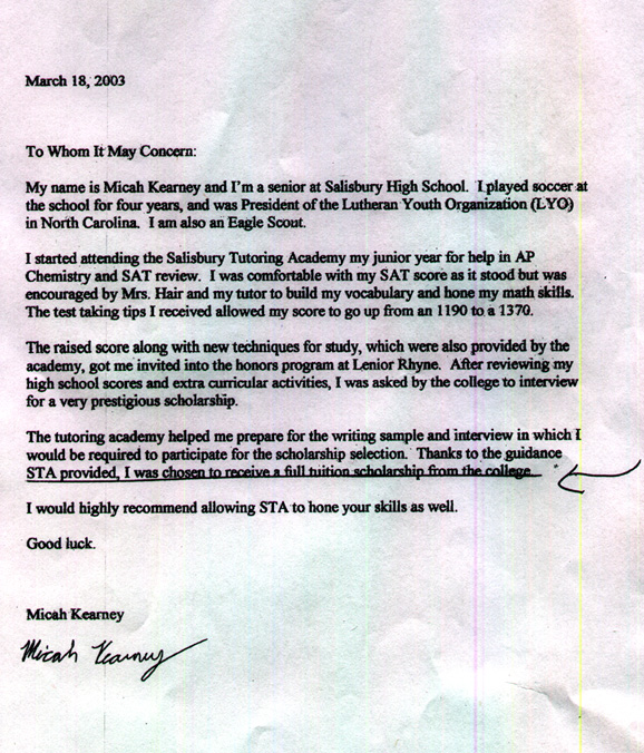 student scholarship recommendation letter sample
